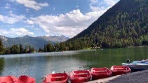 Red boats on the shore of Lac Champex