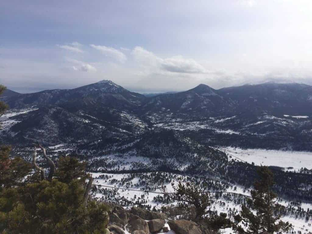 Views from the top of Deer Mountain while snowshoeing in Rocky Mountain National Park