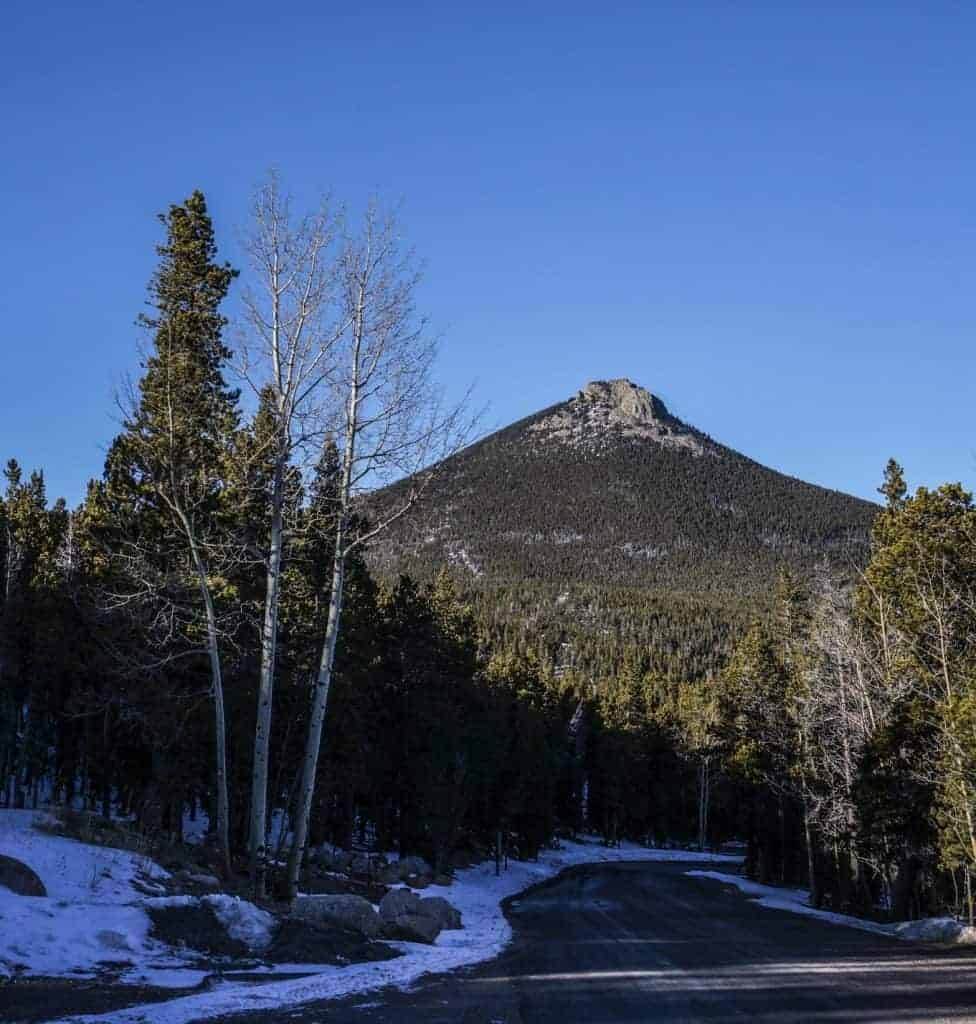 A view of the Estes Cone, a snowshoeing trail in Rocky Mountain National Park