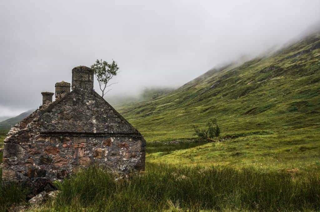 A stone Bothy on the West Highland Way