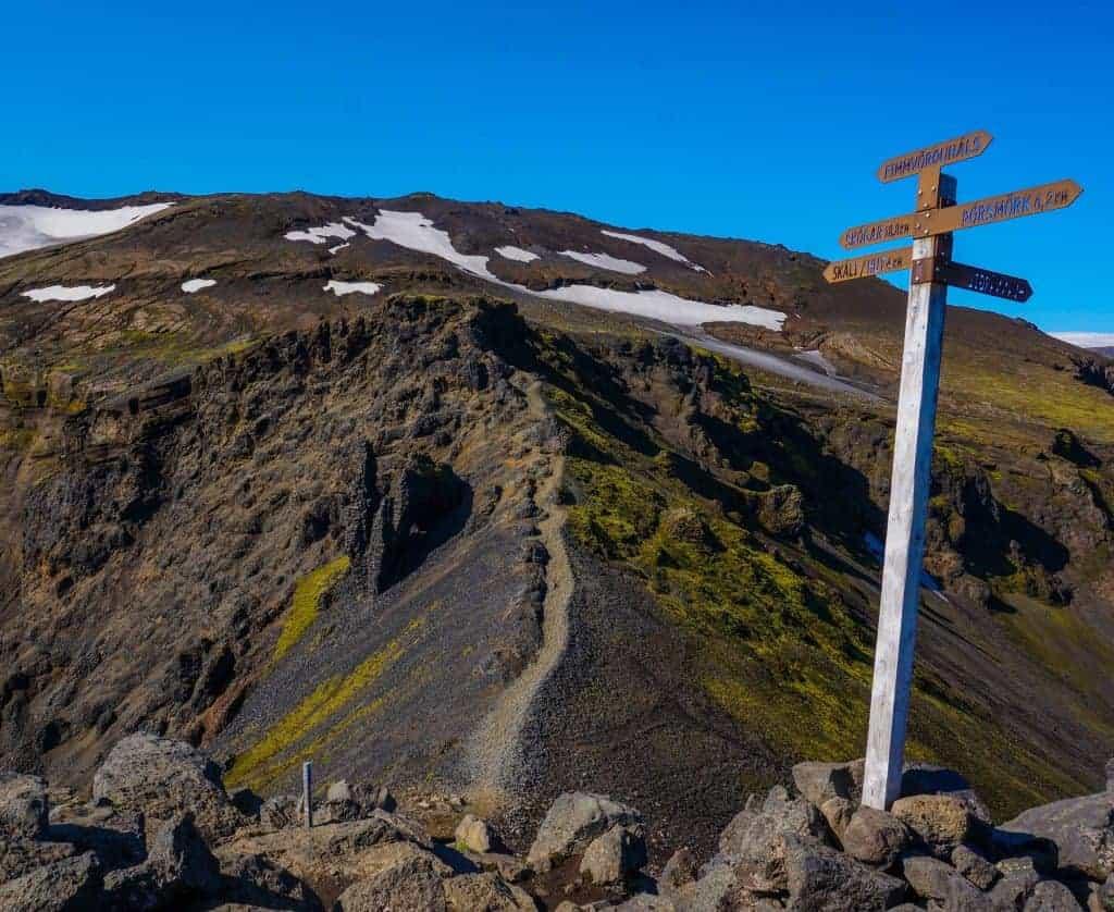A trail sign on the Fimmvörðuháls Trail.