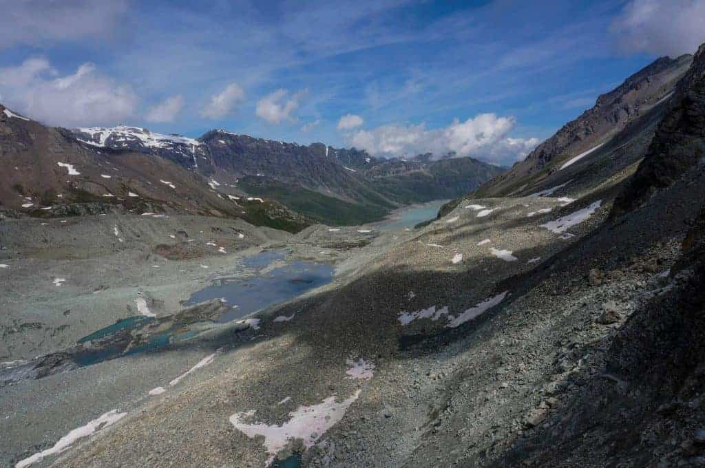 A view of the high alpine scenery near Pas des Chevres