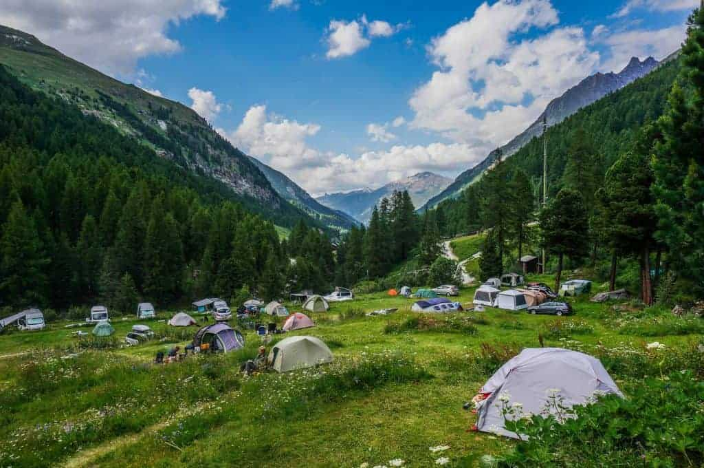 Tents at Camping Arolla on the Haute Route.