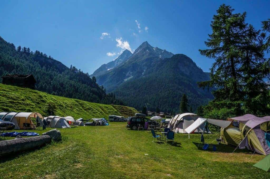 Campground near Les Hauderes, Switzerland.