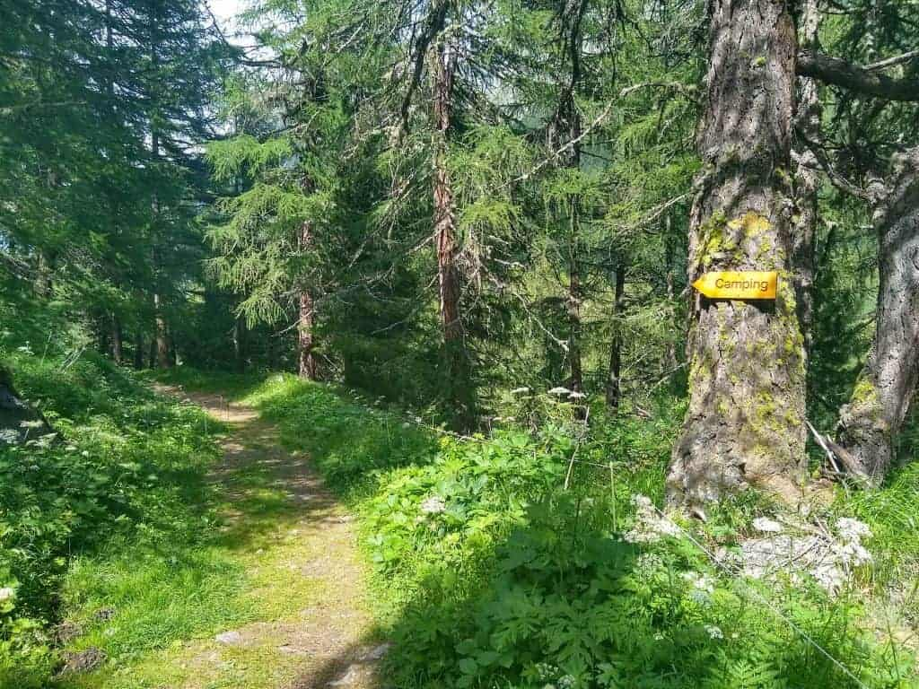 A sign attached to a tree points towards a camping area on the Walker's Haute Route
