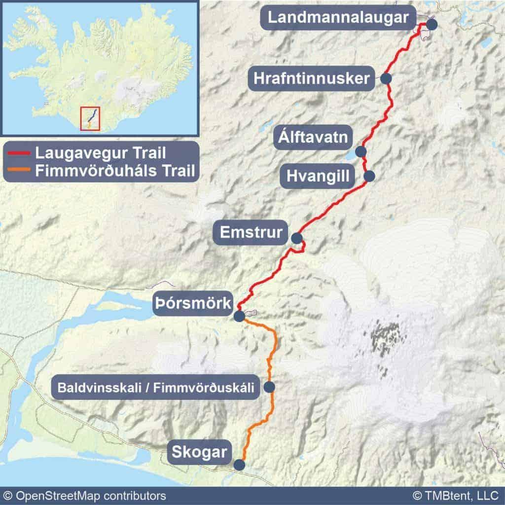 Laugavegur Trail Map
