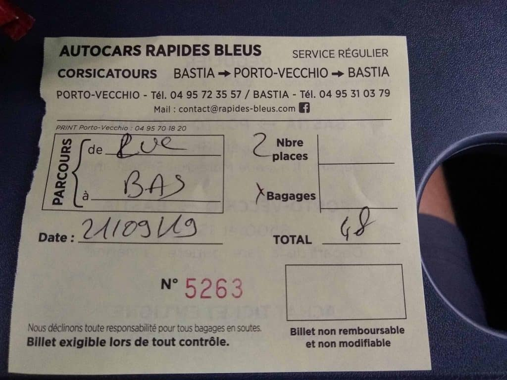 Bus ticket for Sainte Lucie de Porto Vecchio to Bastia