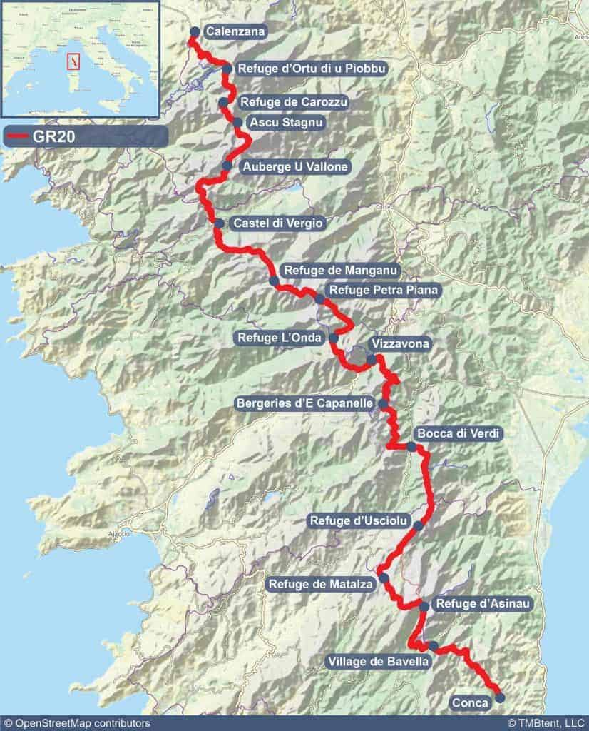 Map of the GR20 in Corsica.