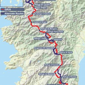Map of the GR20 with common trail variants.