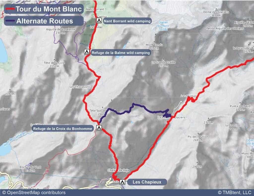 Map of campgrounds near Les Chapieux on the Tour du Mont Blanc