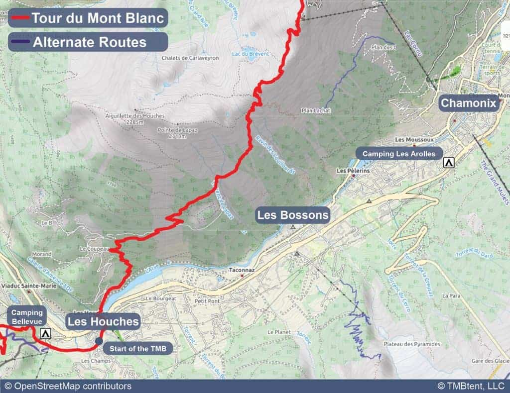Map of campgrounds at the start of the Tour du Mont Blanc