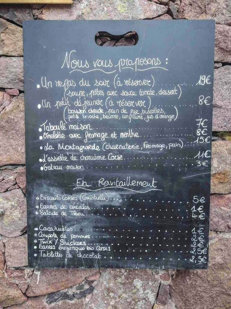 Chalkboard menu at Refuge de Carozzu