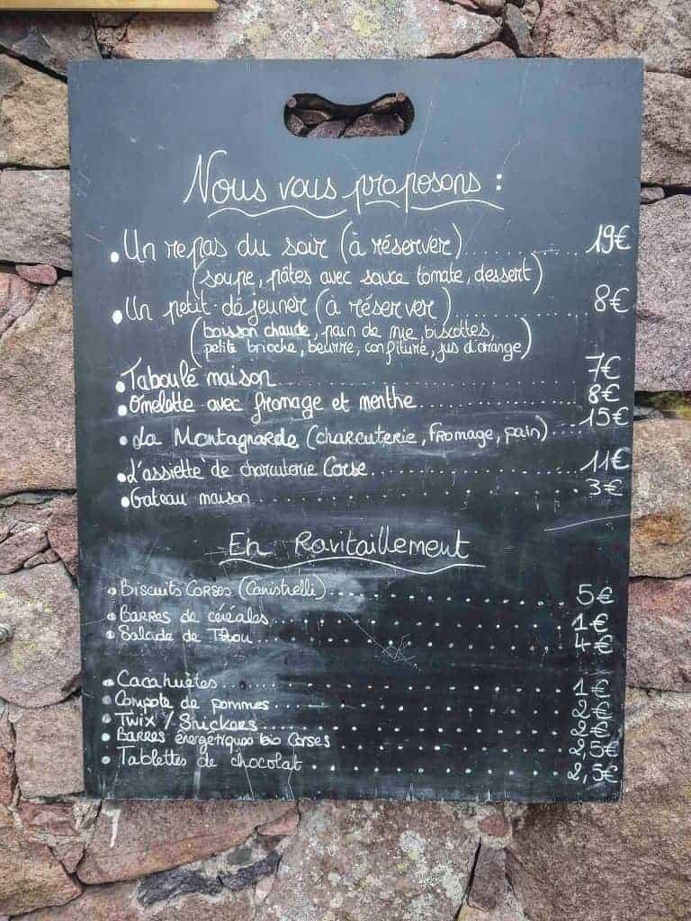 Chalkboard menu at Refuge de Carozzu