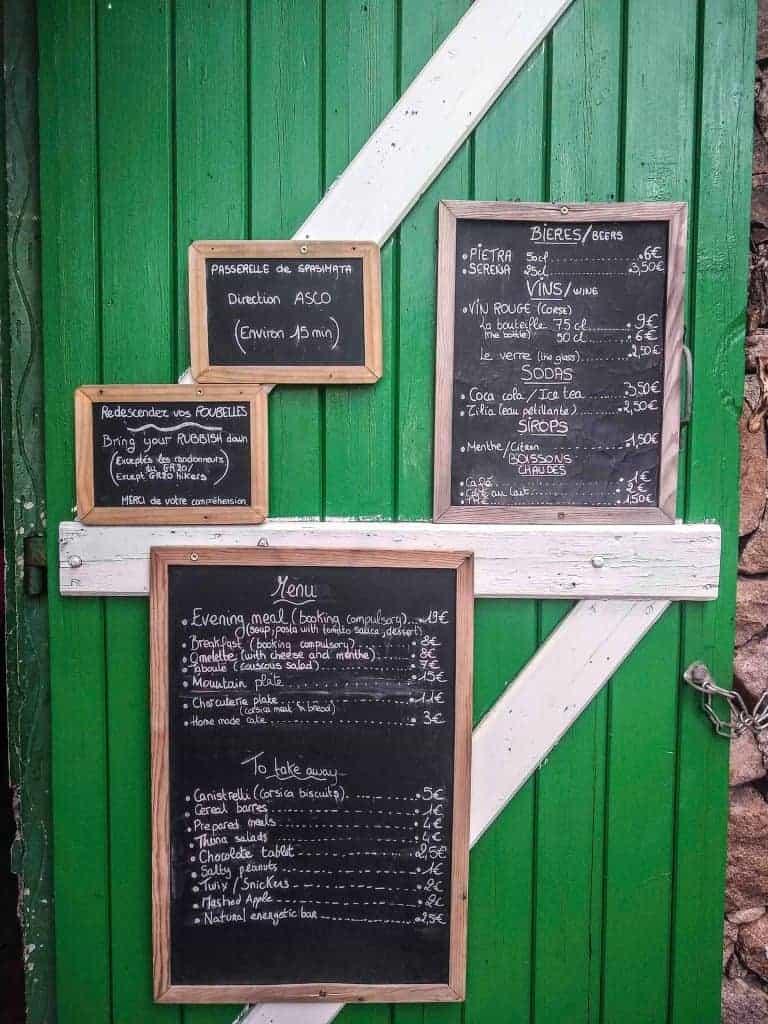 Refuge de Carozzu menu