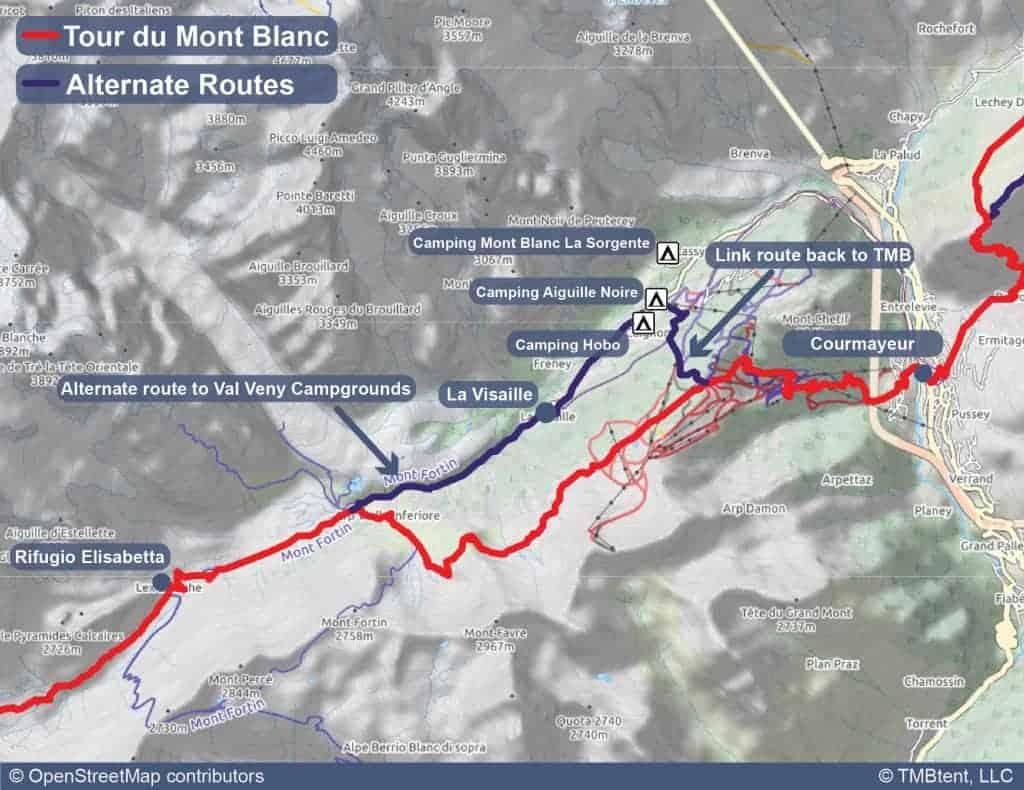 Map of camping options near Rifugio Elisabetta.