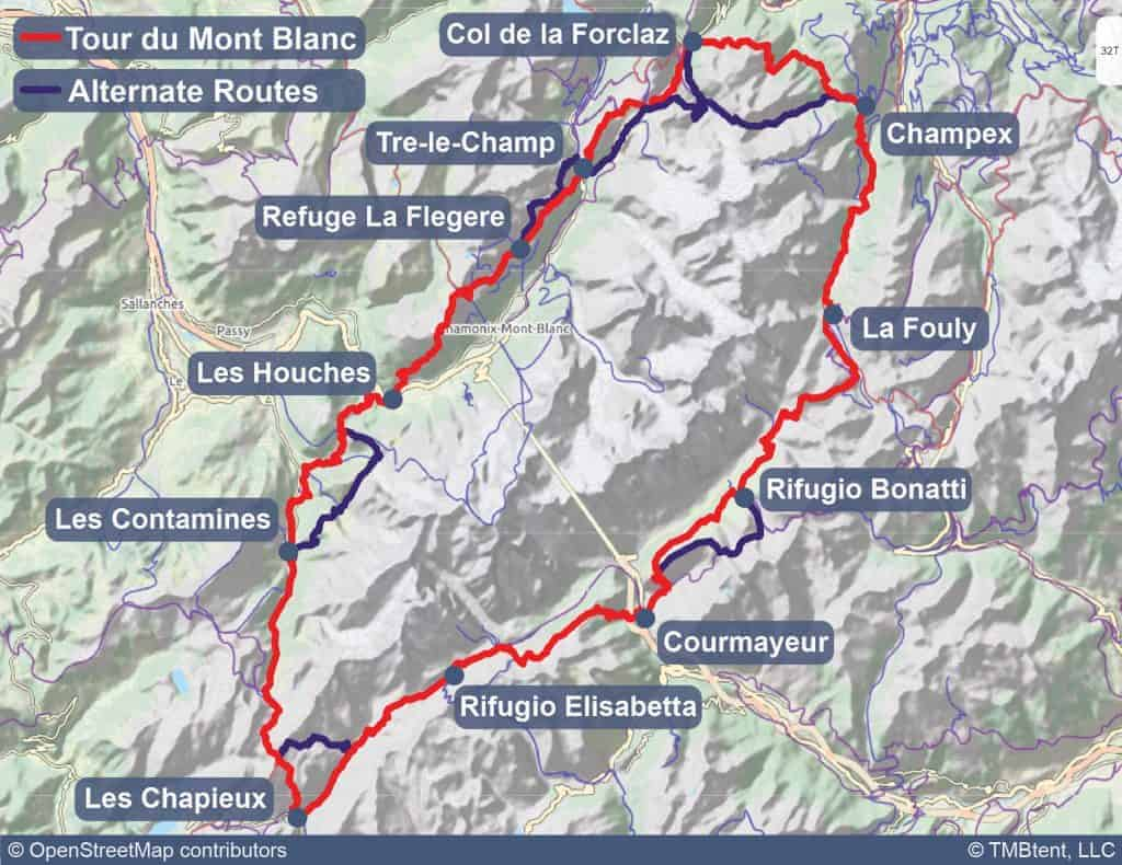 Tour du Mont Blanc Map with alternate routes shown.
