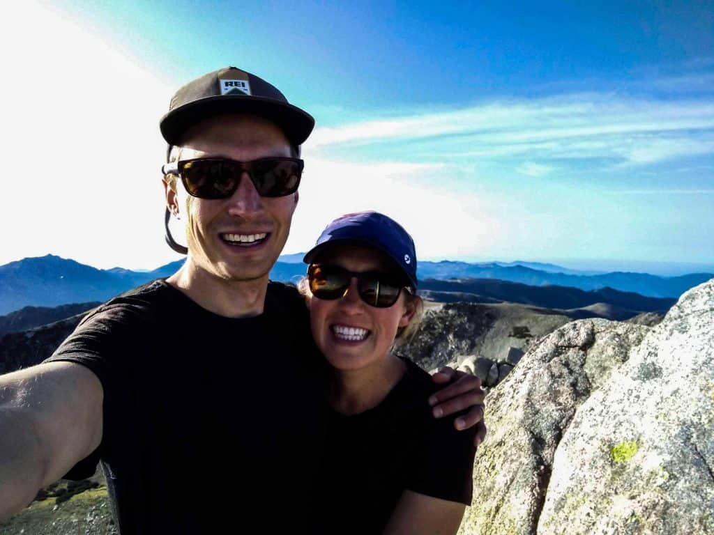 Hikers take a selfie at the top of Mt. Renosu on the GR20