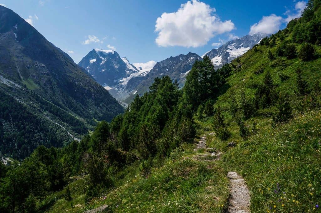The trail winds its way towards snow-capped mountains on the Walker's Haute Route
