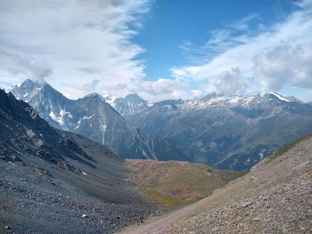 A rocky, high mountain view from the trail on Stage 10 of the Walker's Haute Route