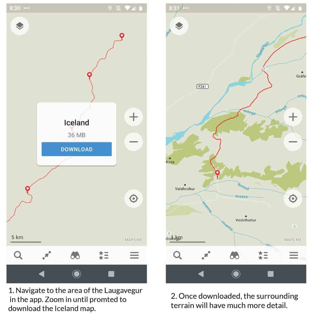 Maps.me download for the Laugavegur Trail