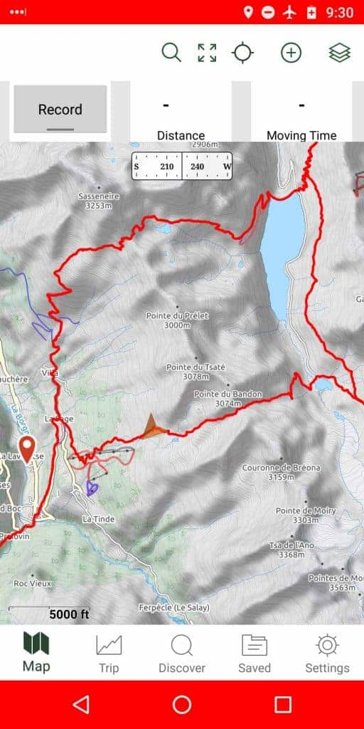 A screenshot of using a smartphone GPS app to navigate on the Walker's Haute Route