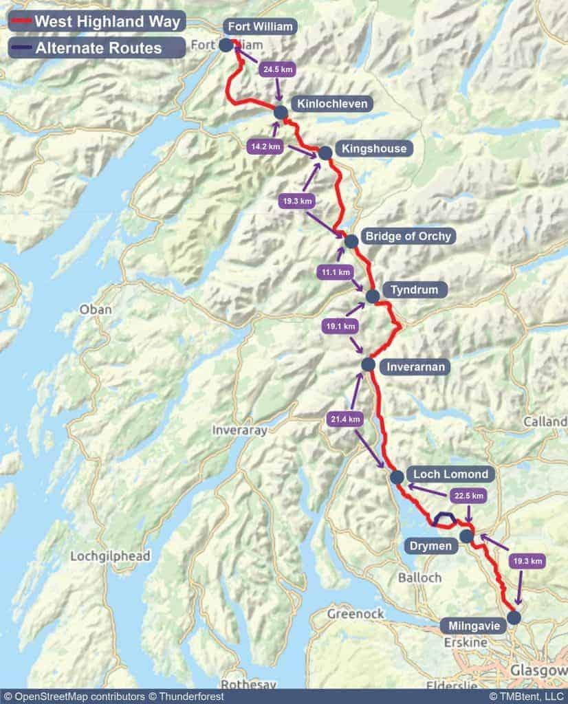 West Highland Way map kilometress