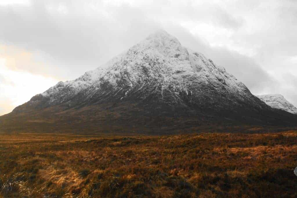 A snow capped mountain on the West Highland Way