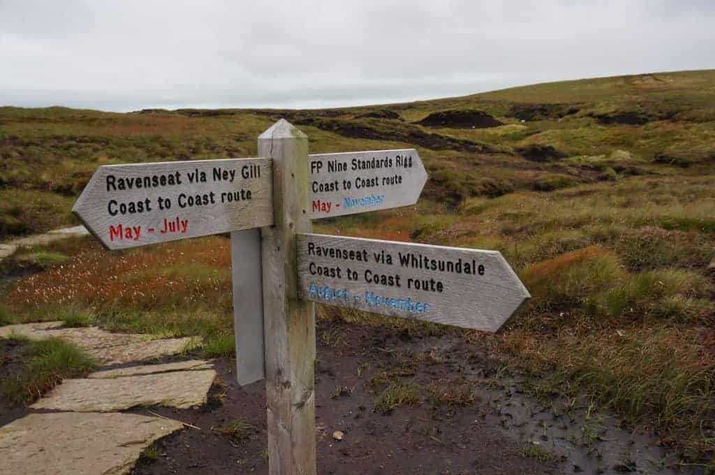 Alternate routes on the Coast to Coast walk UK