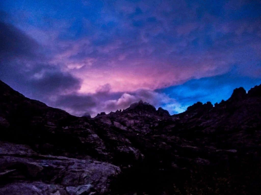 Sunrise over a rocky outcropping on the GR20