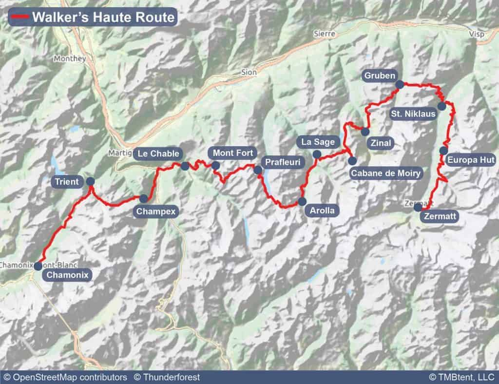 Walker's Haute Route map