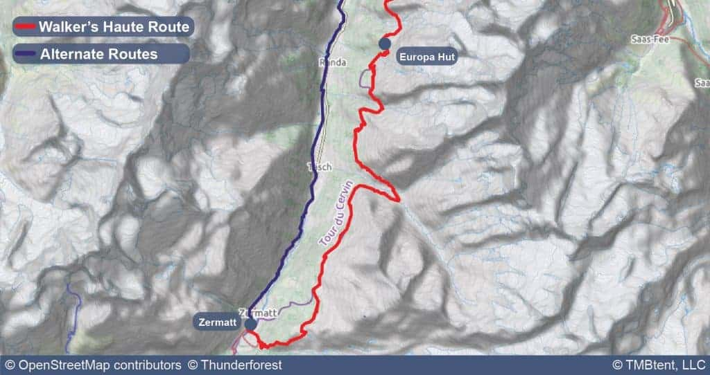 Stage 13 of the Walker's Haute Route from Europa Hut to Zermatt.