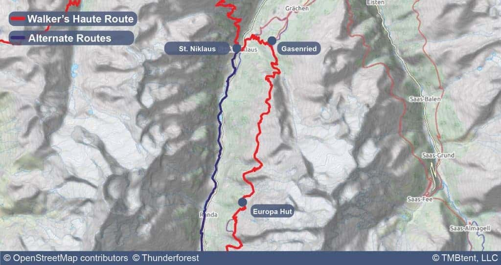 Stage 12 of the Walker's Haute Route from Gasenried to Europa Hut