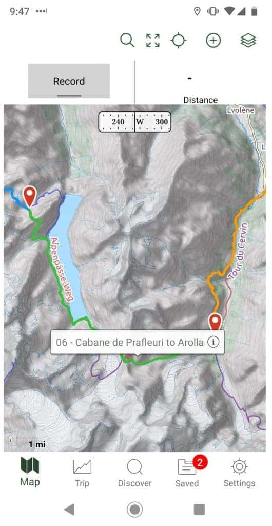 GPS map for the Walker's Haute Route.