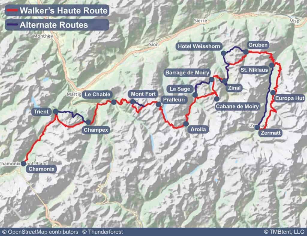 Overview map of the Walker's Haute Route from Chamonix to Zermatt.
