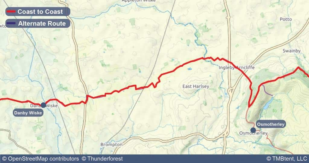 Stage 11 of the Coast to Coast Walk from Danby Wiske to Osmotherley.