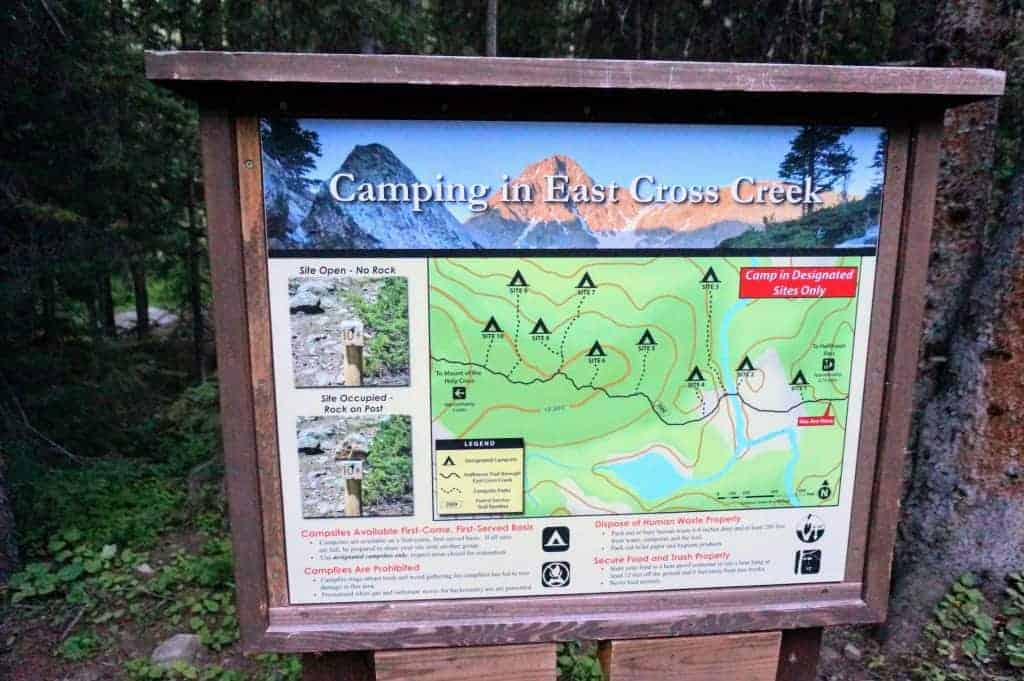Map of campsites at East Cross Creek