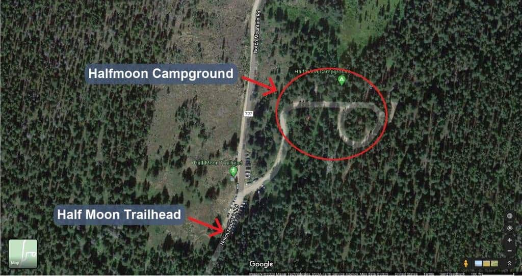 Map of Halfmoon Campground near Mt. of the Holy Cross
