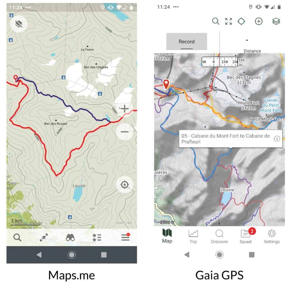 Comparison of Maps.me and Gaia GPS for the Walker's Haute Route