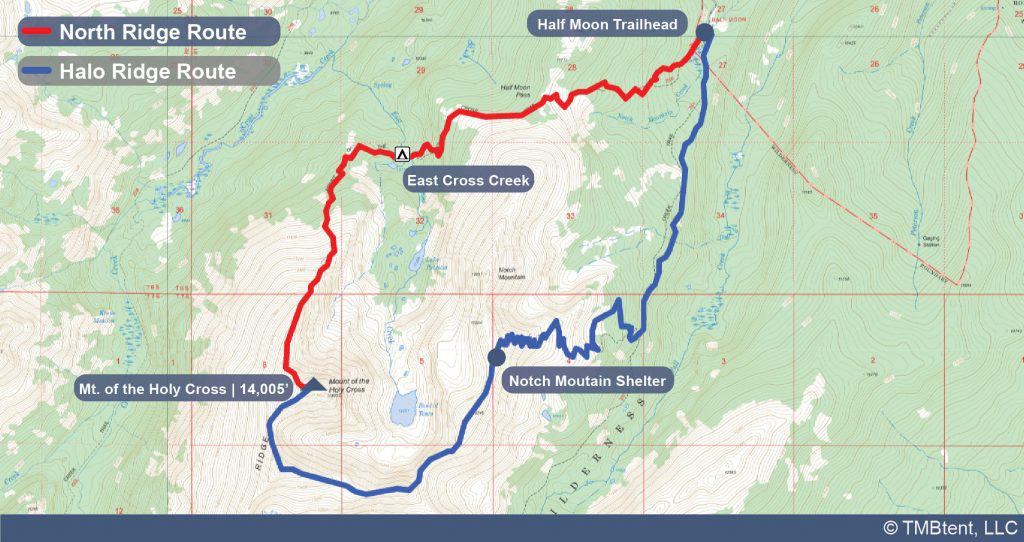 Map of different routes to hike Mt. of the Holy Cross