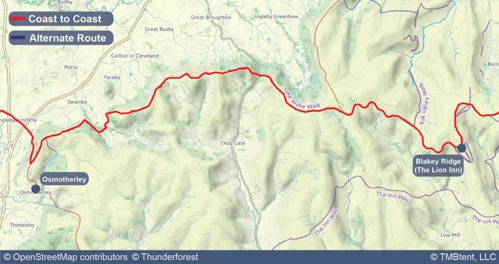 Stage 12 of the Coast to Coast Walk from Osmotherley to Blakey Ridge (The Lion Inn).