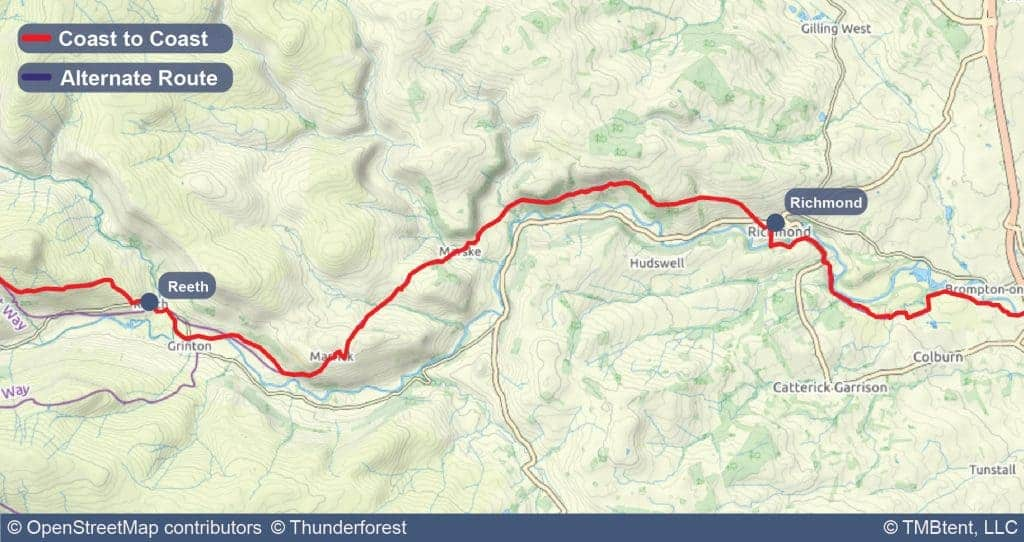 Stage nine of the Coast to Coast Walk from Reeth to Richmond.