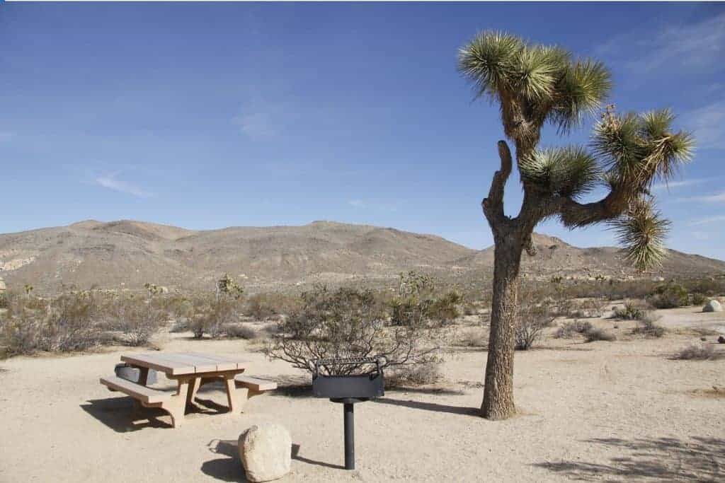 Campsite at the Belle Campground in Joshua Tree.