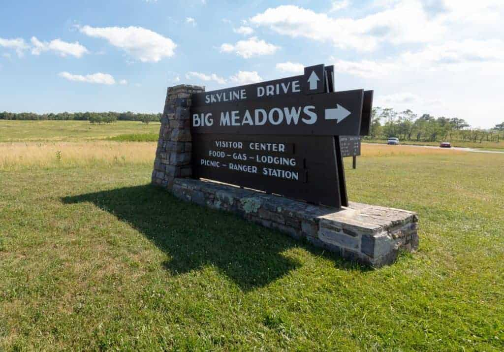 Sign for Big Meadows campground in Shenandoah National Park