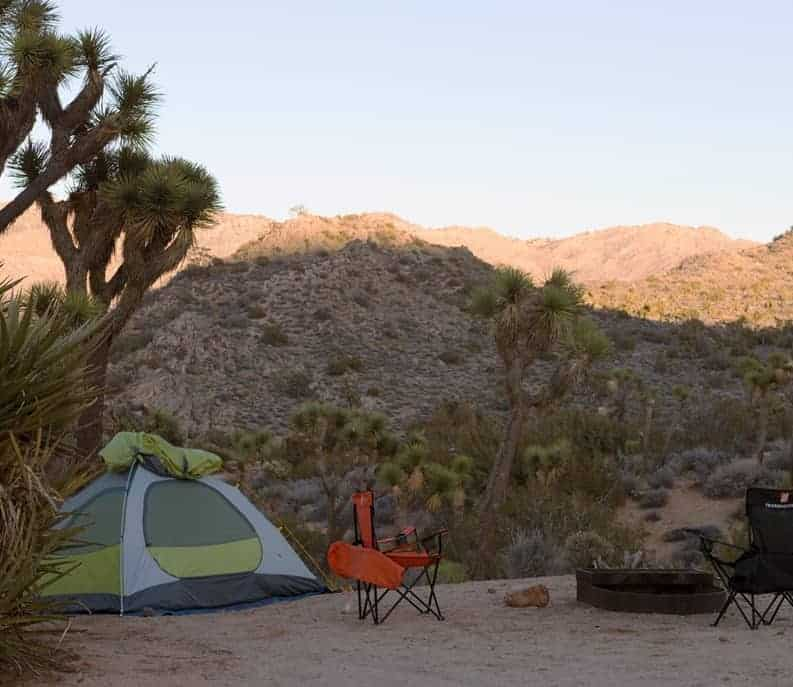 A tent in Black Rock Campground in Joshua Tree National Park