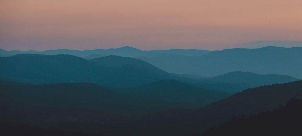Mountains at sunset in Shenandoah National Park
