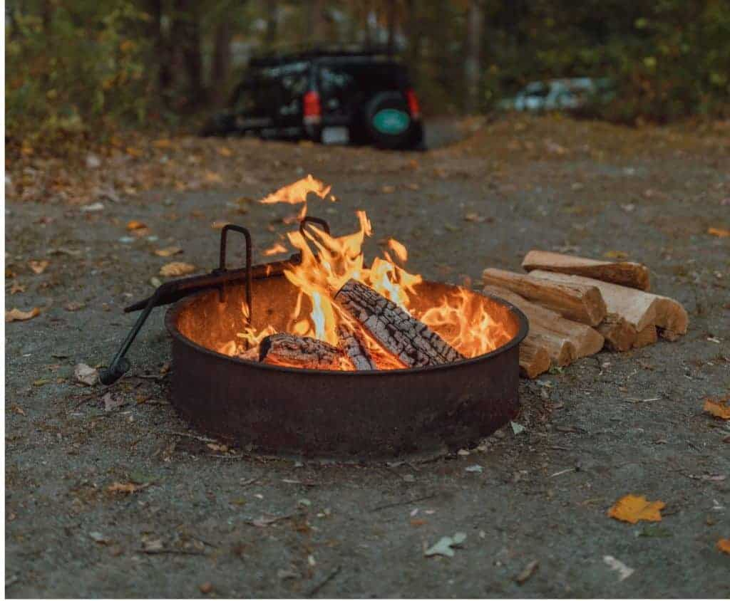 Fire pit at a campground in Shenandoah National Park