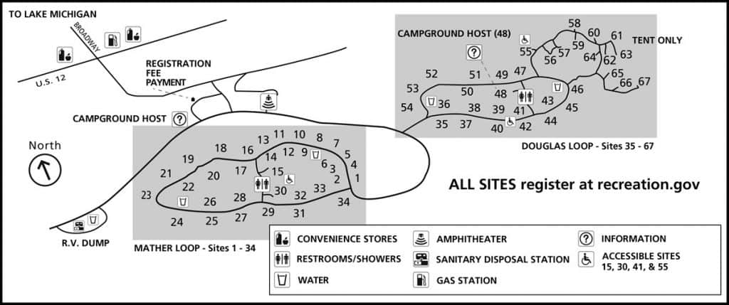 Map of the Dunewood Campground in Indiana Dunes National Park.
