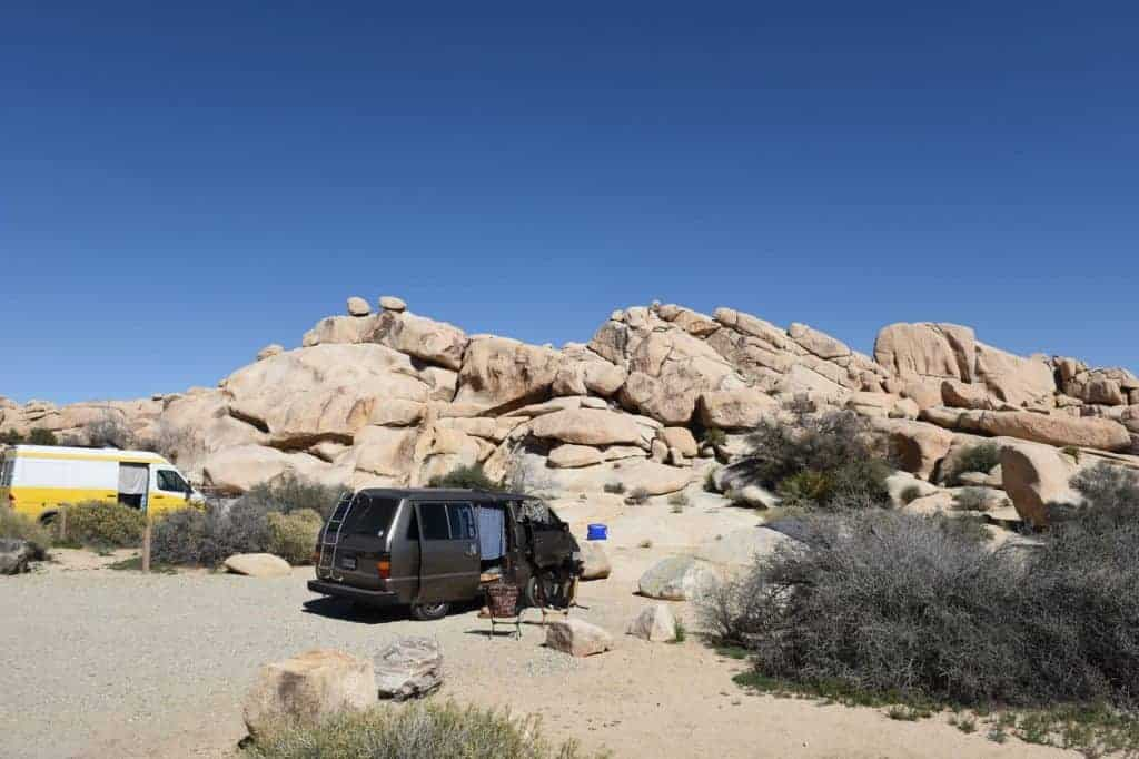 Camper van at the Hidden Valley Campground in Joshua Tree