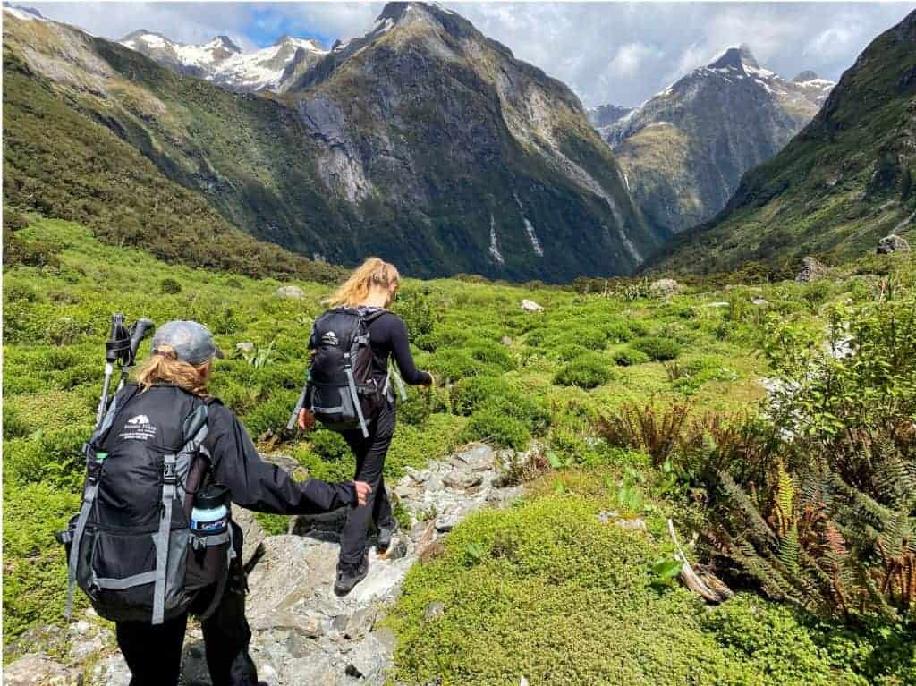 Hikers along New Zealand's Milford Track