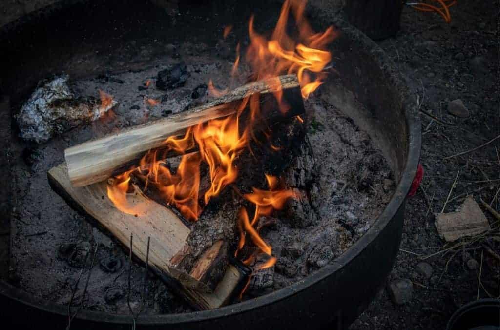 Campfire at Indiana Dunes National Park.